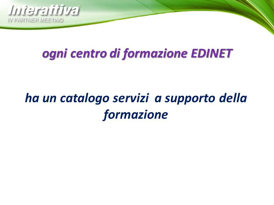 ha un catalogo servizi a supporto della formazione ogni centro di formazione EDINET