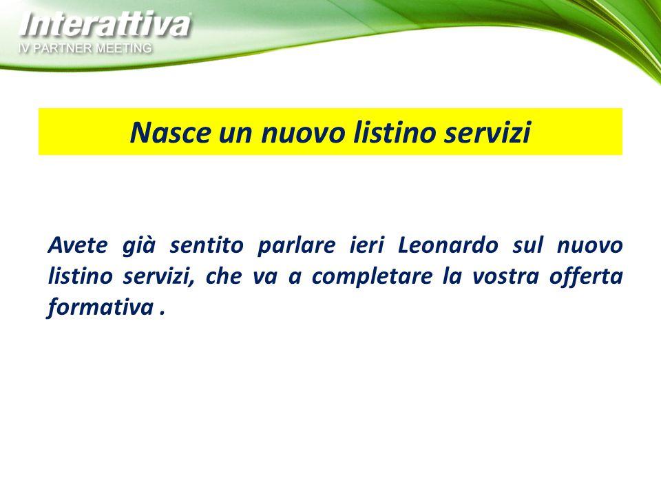Avete già sentito parlare ieri Leonardo sul nuovo listino servizi, che va a completare la vostra offerta formativa. Nasce un nuovo listino servizi