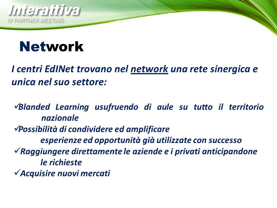 Network Blanded Learning usufruendo di aule su tutto il territorio nazionale Possibilità di condividere ed amplificare esperienze ed opportunità già u
