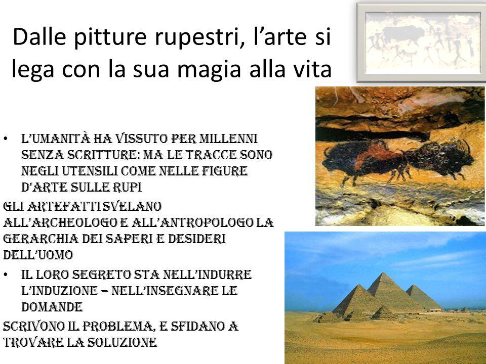 Dalle pitture rupestri, l'arte si lega con la sua magia alla vita L'umanità HA vissuto PER millenni senza SCRITTURE: MA le tracce SONO NEGLI utensili