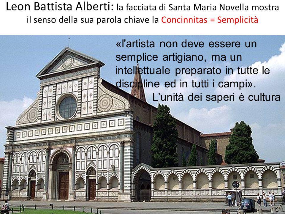 Leon Battista Alberti: la facciata di Santa Maria Novella mostra il senso della sua parola chiave la Concinnitas = Semplicità «l'artista non deve esse