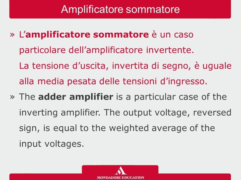 »L'amplificatore sommatore è un caso particolare dell'amplificatore invertente. La tensione d'uscita, invertita di segno, è uguale alla media pesata d