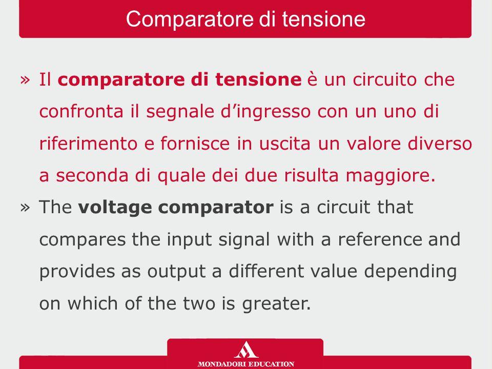 »Il comparatore di tensione è un circuito che confronta il segnale d'ingresso con un uno di riferimento e fornisce in uscita un valore diverso a secon
