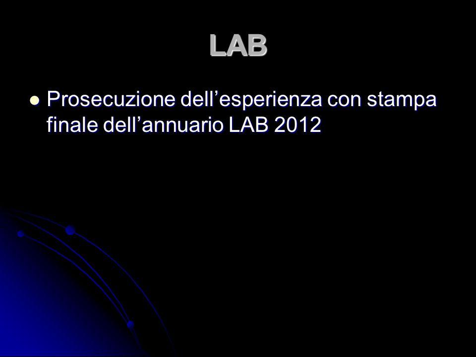 LAB Prosecuzione dell'esperienza con stampa finale dell'annuario LAB 2012 Prosecuzione dell'esperienza con stampa finale dell'annuario LAB 2012