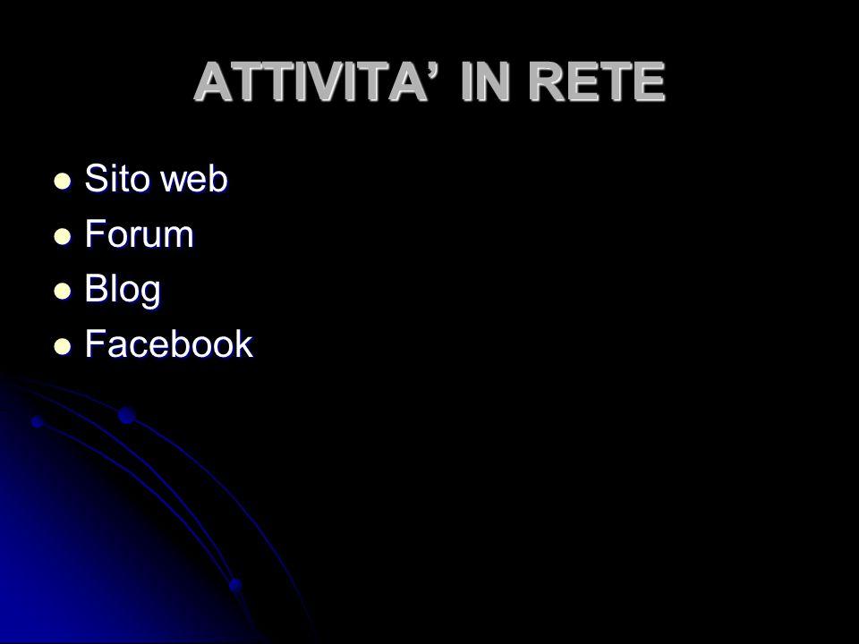 ATTIVITA' IN RETE Sito web Sito web Forum Forum Blog Blog Facebook Facebook