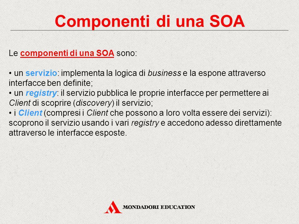 Componenti di una SOA Le componenti di una SOA sono: un servizio: implementa la logica di business e la espone attraverso interfacce ben definite; un