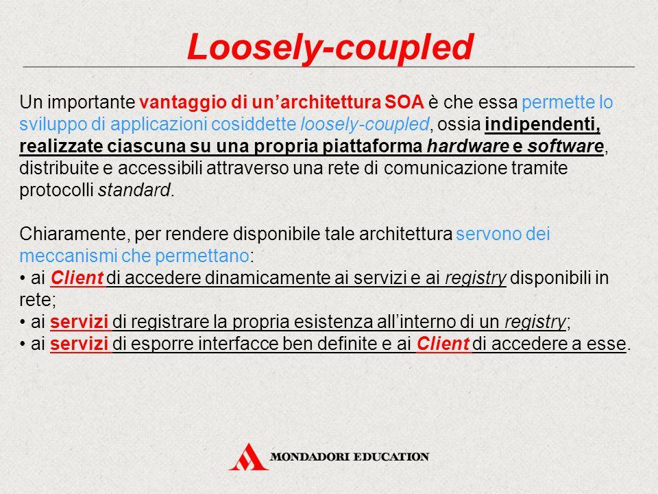 Loosely-coupled Un importante vantaggio di un'architettura SOA è che essa permette lo sviluppo di applicazioni cosiddette loosely-coupled, ossia indip