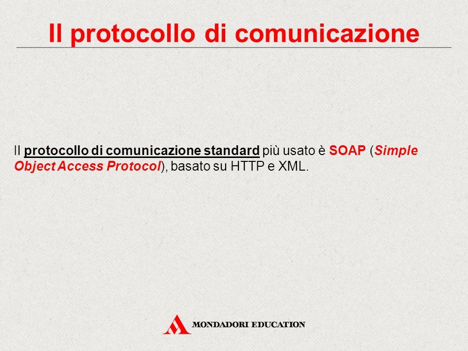 Il protocollo di comunicazione Il protocollo di comunicazione standard più usato è SOAP (Simple Object Access Protocol), basato su HTTP e XML.