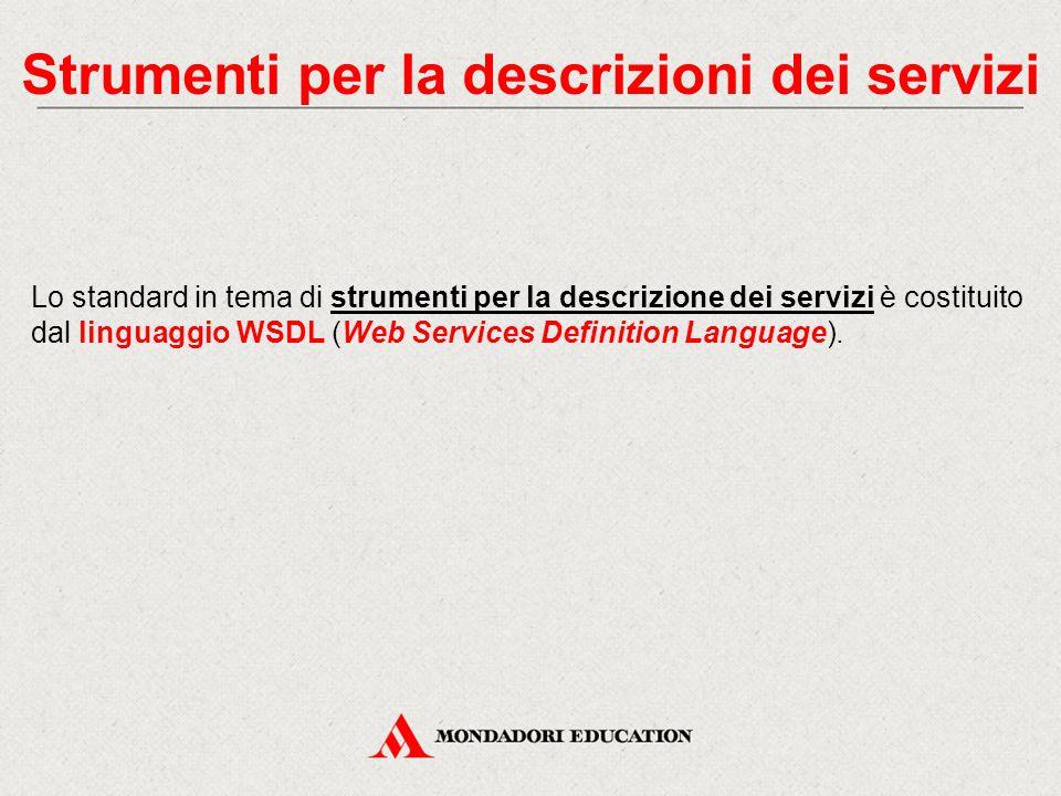 Strumenti per la descrizioni dei servizi Lo standard in tema di strumenti per la descrizione dei servizi è costituito dal linguaggio WSDL (Web Service