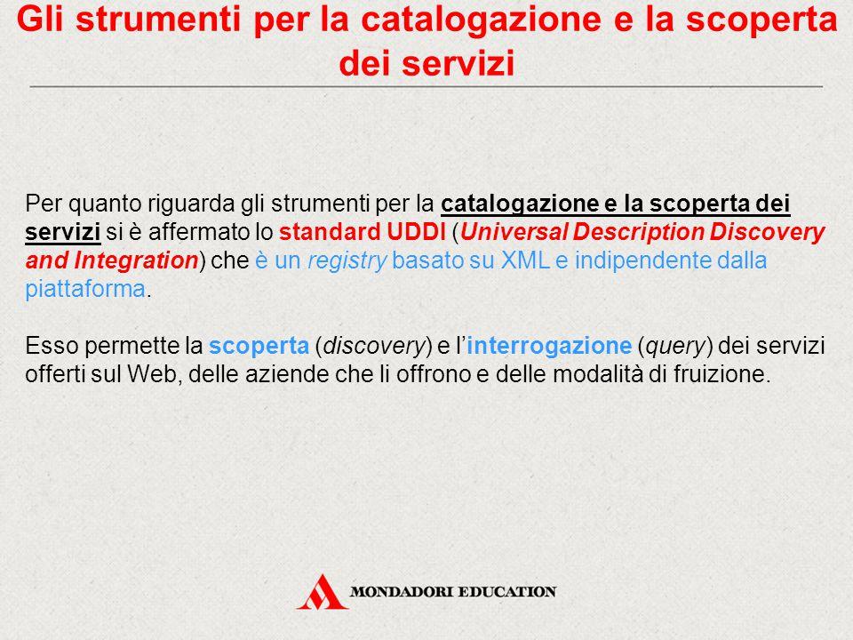 Gli strumenti per la catalogazione e la scoperta dei servizi Per quanto riguarda gli strumenti per la catalogazione e la scoperta dei servizi si è aff