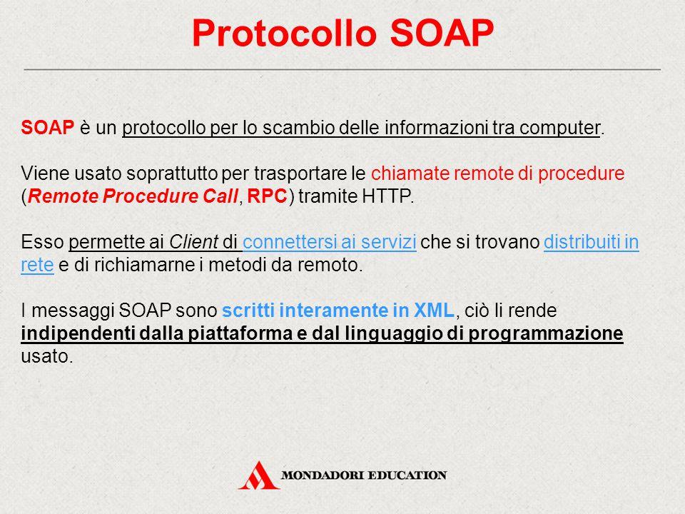 Protocollo SOAP SOAP è un protocollo per lo scambio delle informazioni tra computer. Viene usato soprattutto per trasportare le chiamate remote di pro