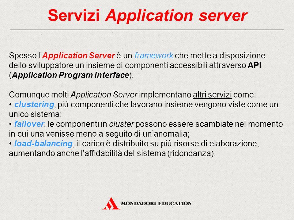 Servizi Application server Spesso l'Application Server è un framework che mette a disposizione dello sviluppatore un insieme di componenti accessibili