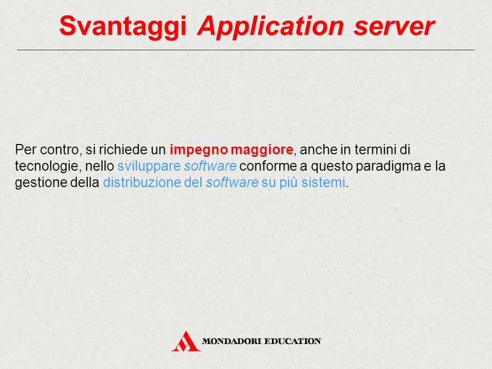Svantaggi Application server Per contro, si richiede un impegno maggiore, anche in termini di tecnologie, nello sviluppare software conforme a questo