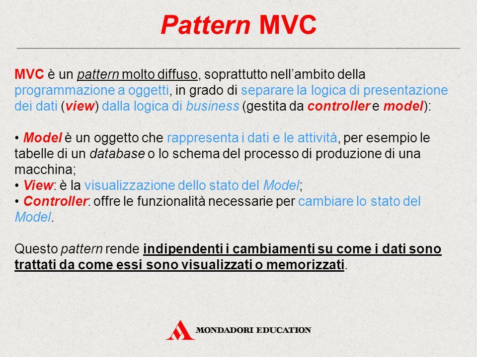 Pattern MVC MVC è un pattern molto diffuso, soprattutto nell'ambito della programmazione a oggetti, in grado di separare la logica di presentazione de