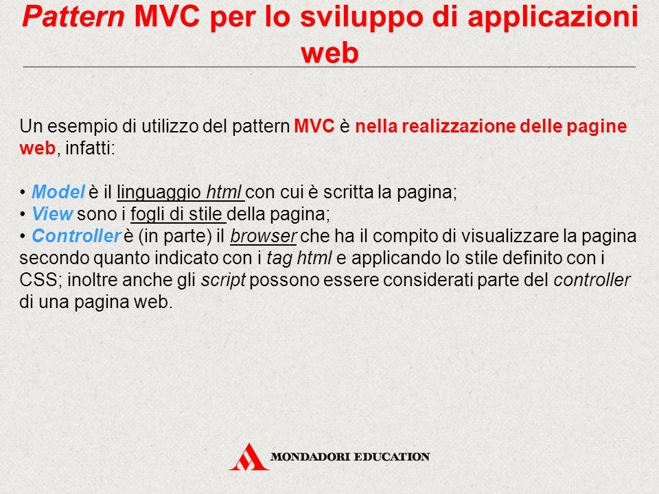 Pattern MVC per lo sviluppo di applicazioni web Un esempio di utilizzo del pattern MVC è nella realizzazione delle pagine web, infatti: Model è il lin