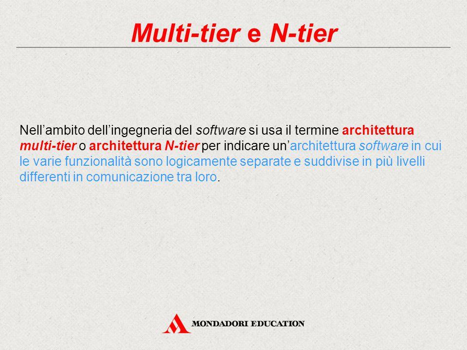 Multi-tier e N-tier Nell'ambito dell'ingegneria del software si usa il termine architettura multi-tier o architettura N-tier per indicare un'architett