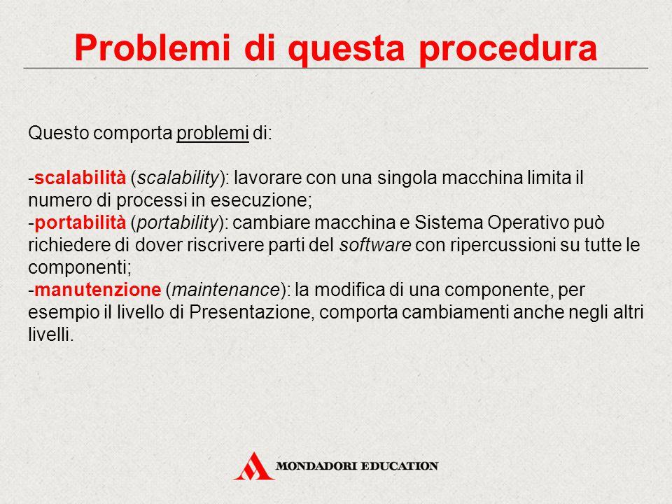 Problemi di questa procedura Questo comporta problemi di: -scalabilità (scalability): lavorare con una singola macchina limita il numero di processi i