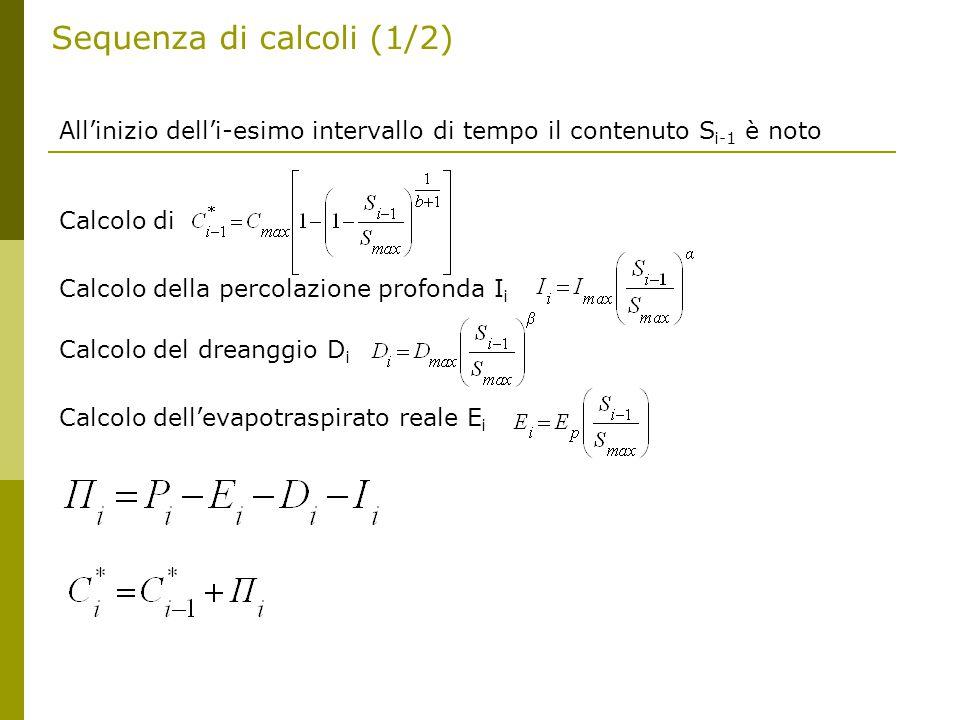 Sequenza di calcoli (1/2) All'inizio dell'i-esimo intervallo di tempo il contenuto S i-1 è noto Calcolo di Calcolo della percolazione profonda I i Calcolo del dreanggio D i Calcolo dell'evapotraspirato reale E i