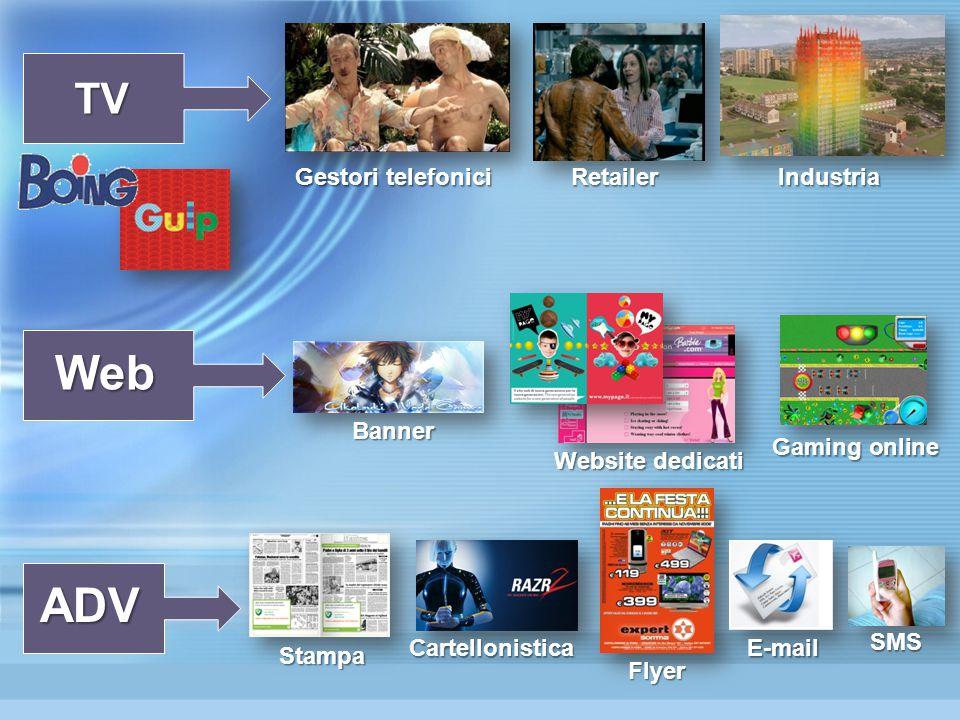 TV Web ADV Gestori telefonici RetailerIndustria Banner Website dedicati Gaming online Flyer Cartellonistica SMS Stampa E-mail