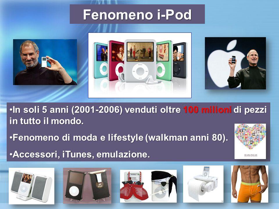 Fenomeno i-Pod In soli 5 anni (2001-2006) venduti oltre 100 milioni di pezzi in tutto il mondo.In soli 5 anni (2001-2006) venduti oltre 100 milioni di pezzi in tutto il mondo.