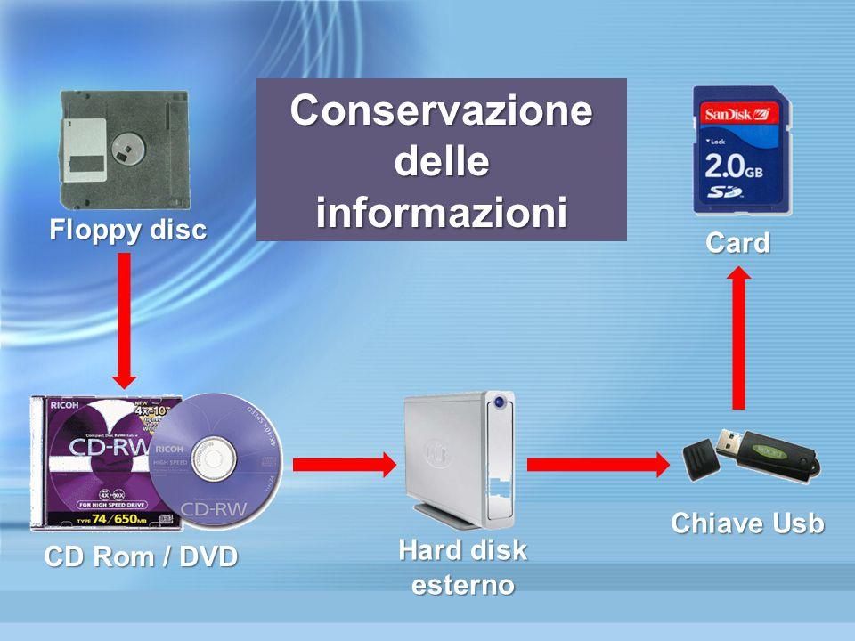 Floppy disc CD Rom / DVD Hard disk esterno Chiave Usb Card Conservazione delle informazioni