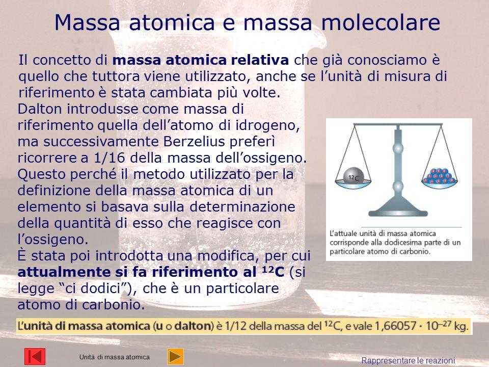 Massa atomica e massa molecolare Il concetto di massa atomica relativa che già conosciamo è quello che tuttora viene utilizzato, anche se l'unità di m