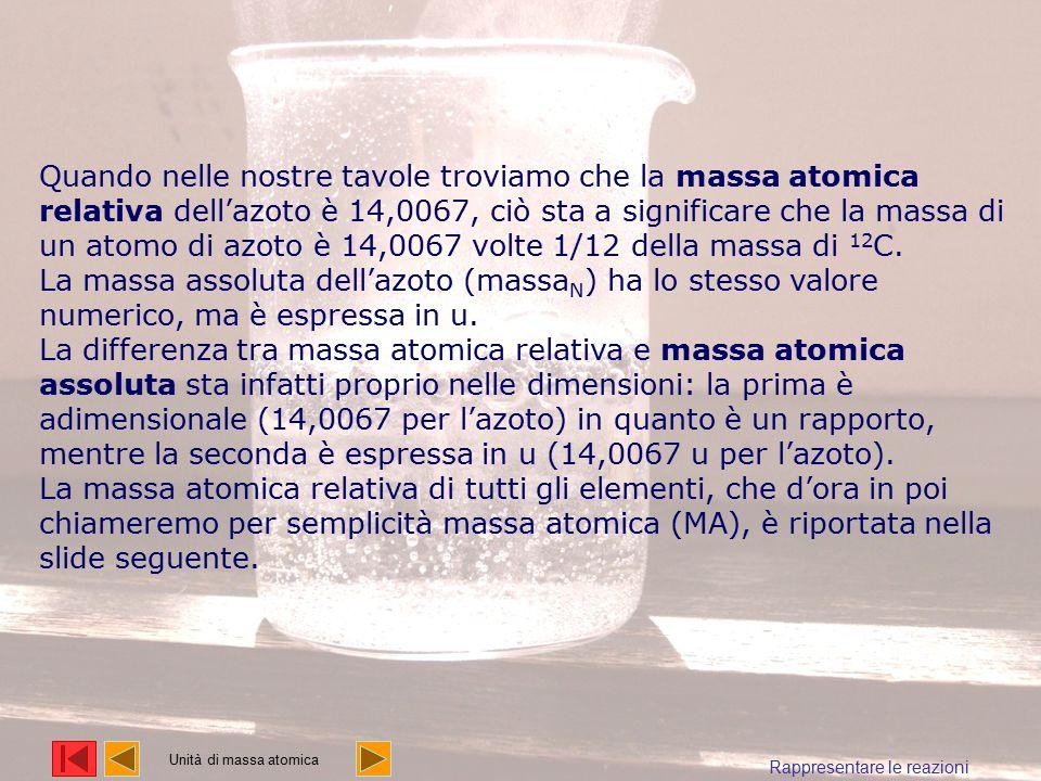Quando nelle nostre tavole troviamo che la massa atomica relativa dell'azoto è 14,0067, ciò sta a significare che la massa di un atomo di azoto è 14,0