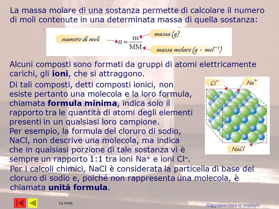 La massa molare di una sostanza permette di calcolare il numero di moli contenute in una determinata massa di quella sostanza: Alcuni composti sono fo