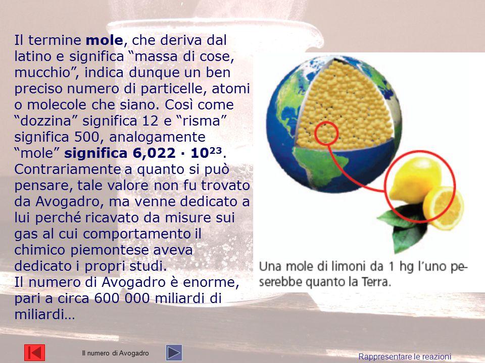 """Il termine mole, che deriva dal latino e significa """"massa di cose, mucchio"""", indica dunque un ben preciso numero di particelle, atomi o molecole che s"""