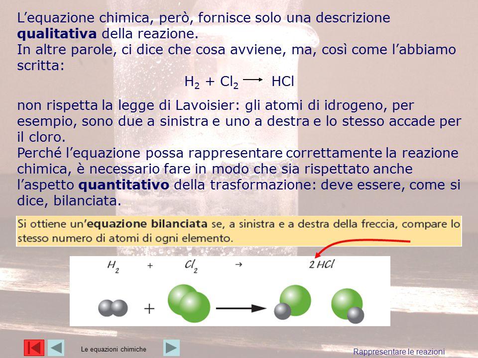 L'equazione chimica, però, fornisce solo una descrizione qualitativa della reazione. In altre parole, ci dice che cosa avviene, ma, così come l'abbiam