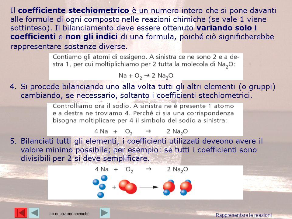 Il coefficiente stechiometrico è un numero intero che si pone davanti alle formule di ogni composto nelle reazioni chimiche (se vale 1 viene sottintes