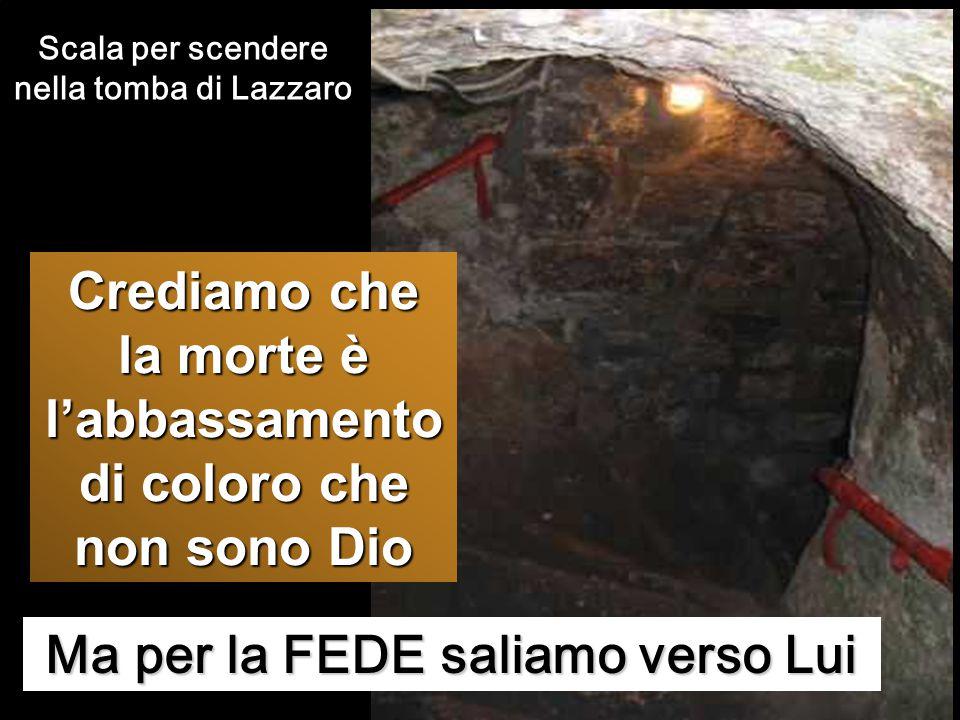 Ma per la FEDE saliamo verso Lui Scala per scendere nella tomba di Lazzaro Crediamo che la morte è l'abbassamento di coloro che non sono Dio