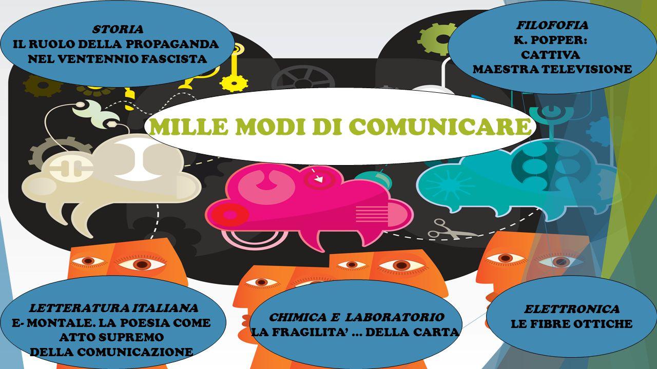 STORIA IL RUOLO DELLA PROPAGANDA NEL VENTENNIO FASCISTA LETTERATURA ITALIANA E- MONTALE. LA POESIA COME ATTO SUPREMO DELLA COMUNICAZIONE MILLE MODI DI