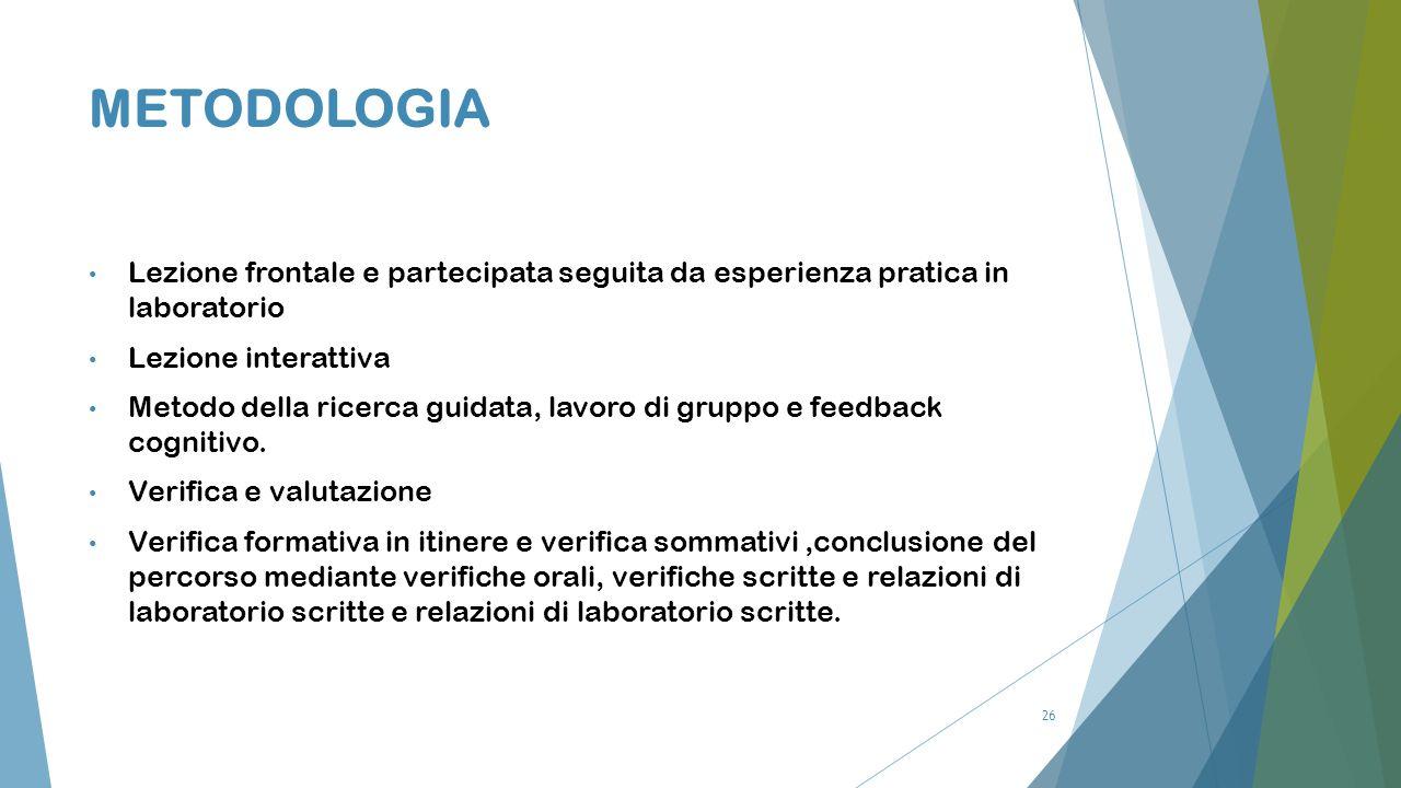 26 METODOLOGIA Lezione frontale e partecipata seguita da esperienza pratica in laboratorio Lezione interattiva Metodo della ricerca guidata, lavoro di