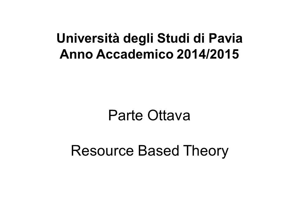 Università degli Studi di Pavia Anno Accademico 2014/2015 Parte Ottava Resource Based Theory
