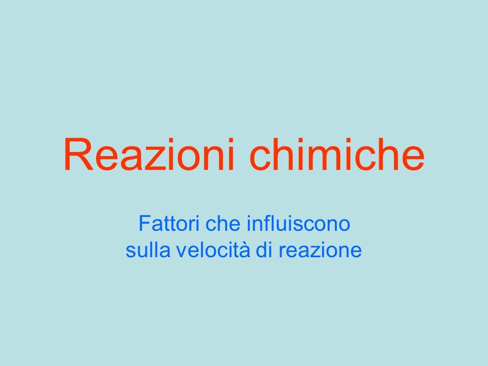 Reazioni chimiche Fattori che influiscono sulla velocità di reazione