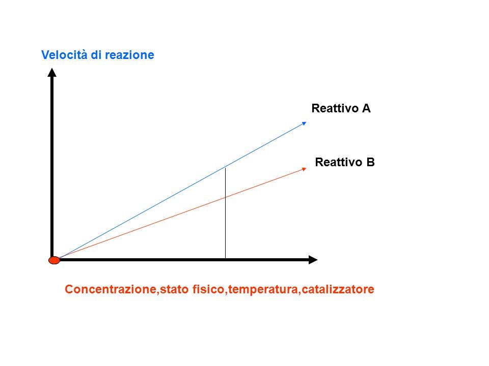 Velocità di reazione Concentrazione,stato fisico,temperatura,catalizzatore Reattivo A Reattivo B