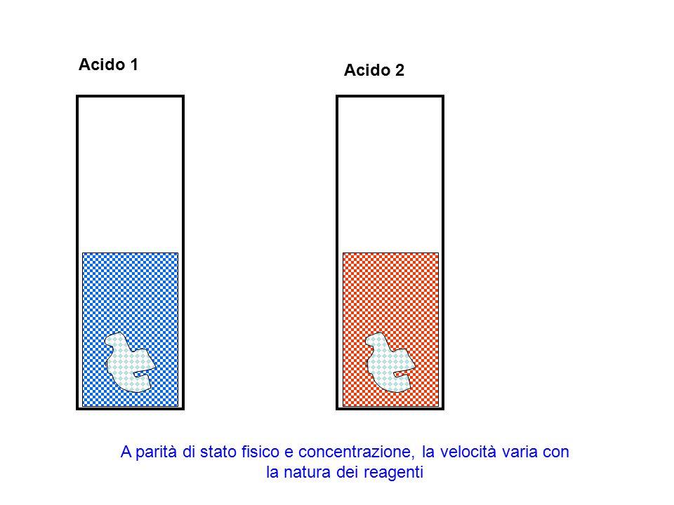 Acido 1 A parità di stato fisico e concentrazione, la velocità varia con la natura dei reagenti Acido 2