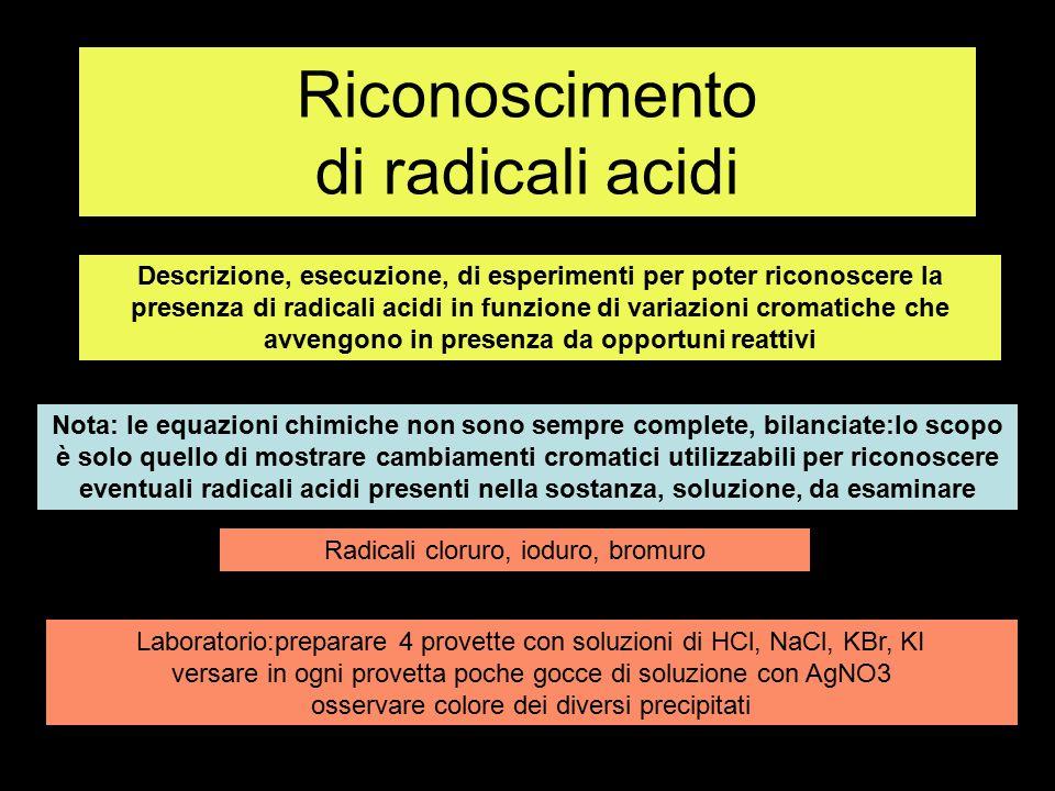 Ricerca radicale cloruro Cl- in soluzione con acido usando AgNO3 per riconoscimento HCl AgCl HCl + AgNO3 > AgCl + HNO3 H2O + HCl + AgNO3 AgNO3 AgCl precipitato bianco