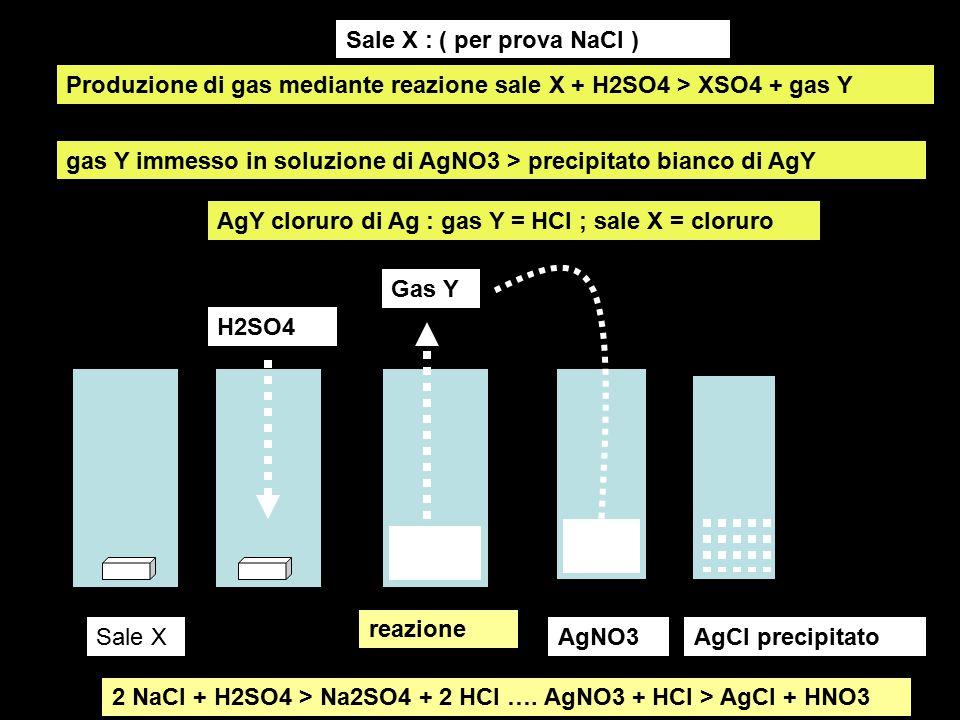 Produzione di gas mediante reazione sale X + H2SO4 > XSO4 + gas Y gas Y immesso in soluzione di AgNO3 > precipitato bianco di AgY gas prodotto da reaz