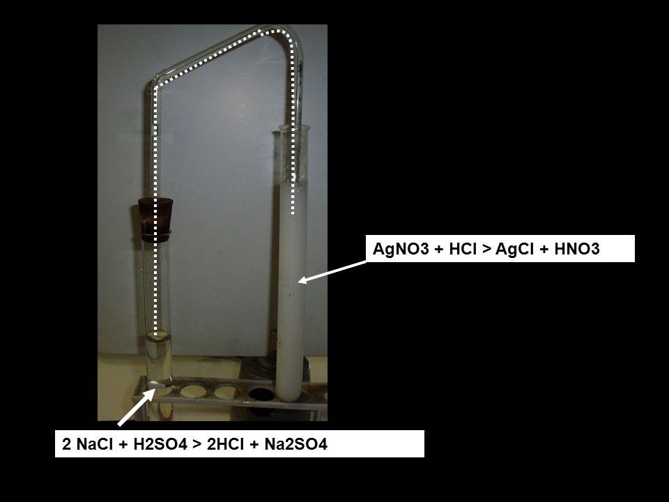 2 NaCl + H2SO4 > 2HCl + Na2SO4 AgNO3 + HCl > AgCl + HNO3