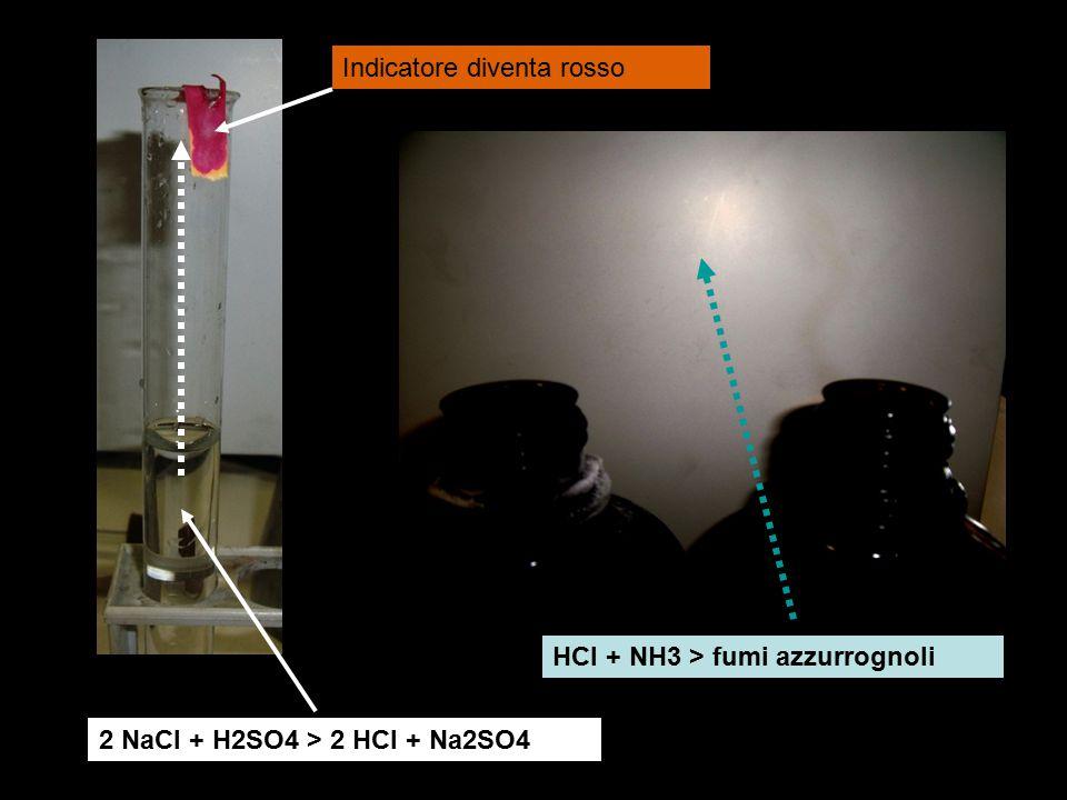 2 NaCl + H2SO4 > 2 HCl + Na2SO4 Indicatore diventa rosso HCl + NH3 > fumi azzurrognoli