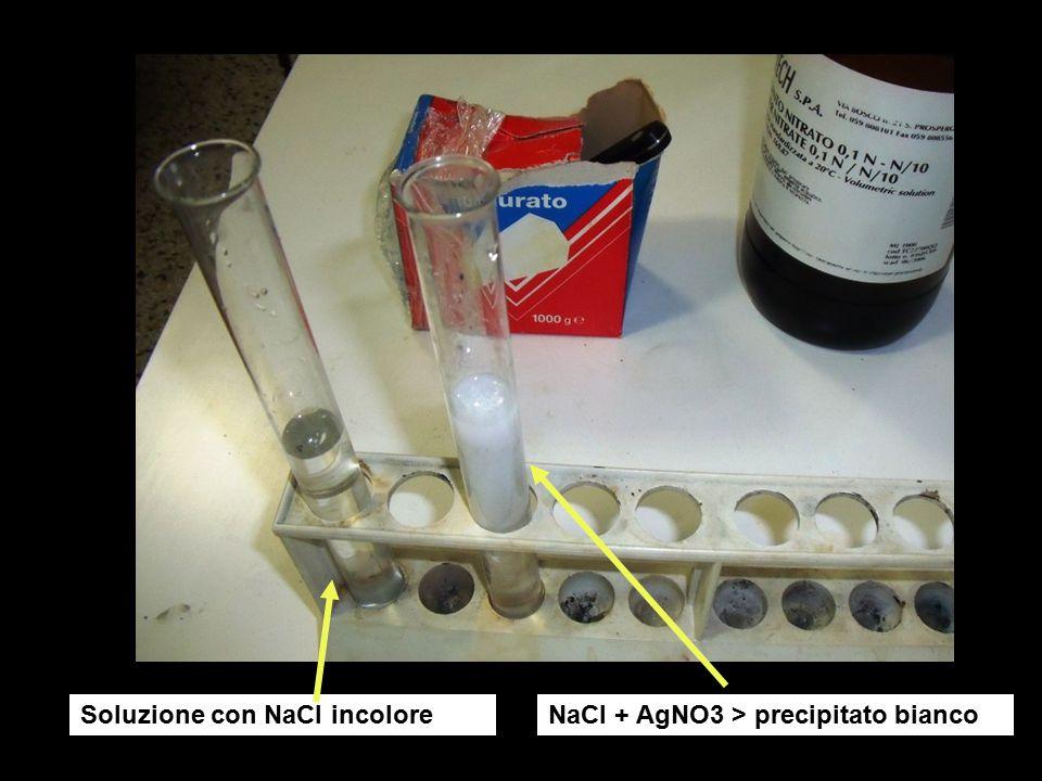 Ricerca radicale bromuro Br- in soluzione con sale (KBr) usando AgNO3 per riconoscimento KBr AgBr KBr + AgNO3 > AgBr + KNO3 H2O + KBr + AgNO3 AgNO3 AgBr precipitato bianco giallognolo