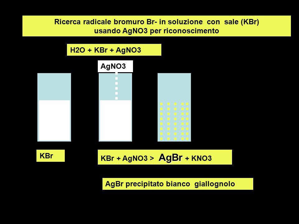 Ricerca radicale bromuro Br- in soluzione con sale (KBr) usando AgNO3 per riconoscimento KBr AgBr KBr + AgNO3 > AgBr + KNO3 H2O + KBr + AgNO3 AgNO3 Ag