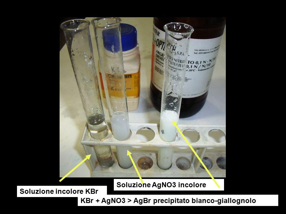 Soluzione incolore KBr Soluzione AgNO3 incolore KBr + AgNO3 > AgBr precipitato bianco-giallognolo