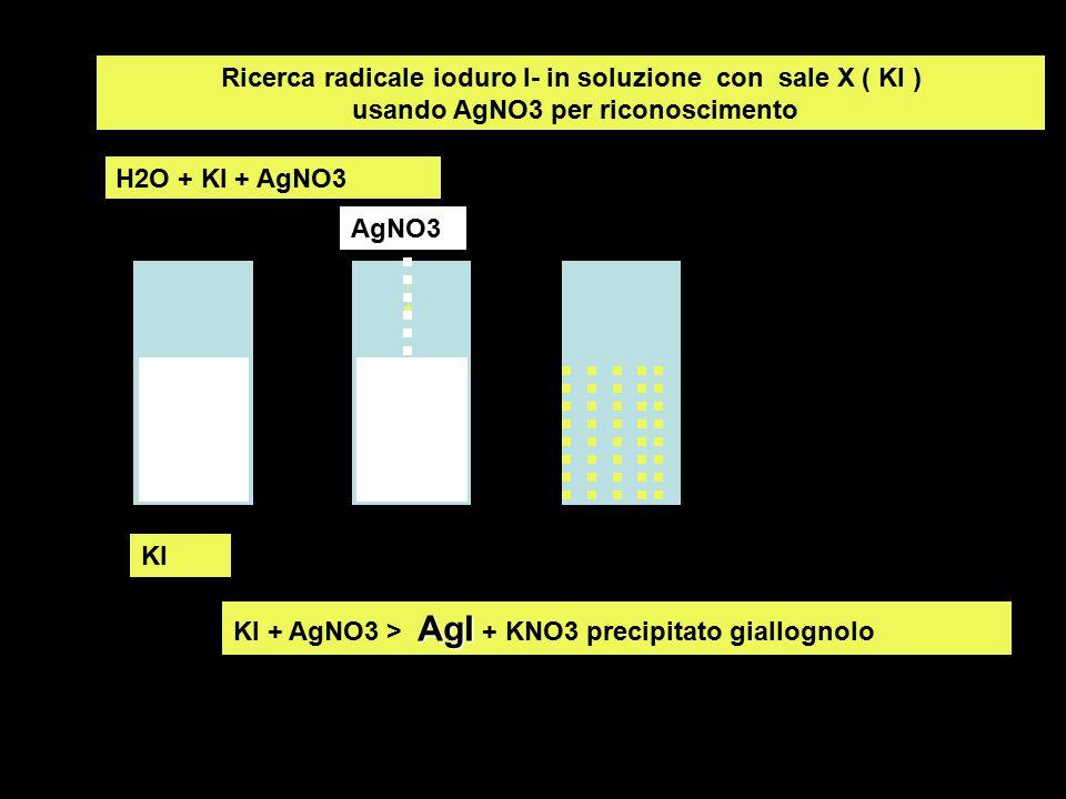 Ricerca radicale ioduro I- in soluzione con sale X ( KI ) usando AgNO3 per riconoscimento KI AgI KI + AgNO3 > AgI + KNO3 precipitato giallognolo H2O +