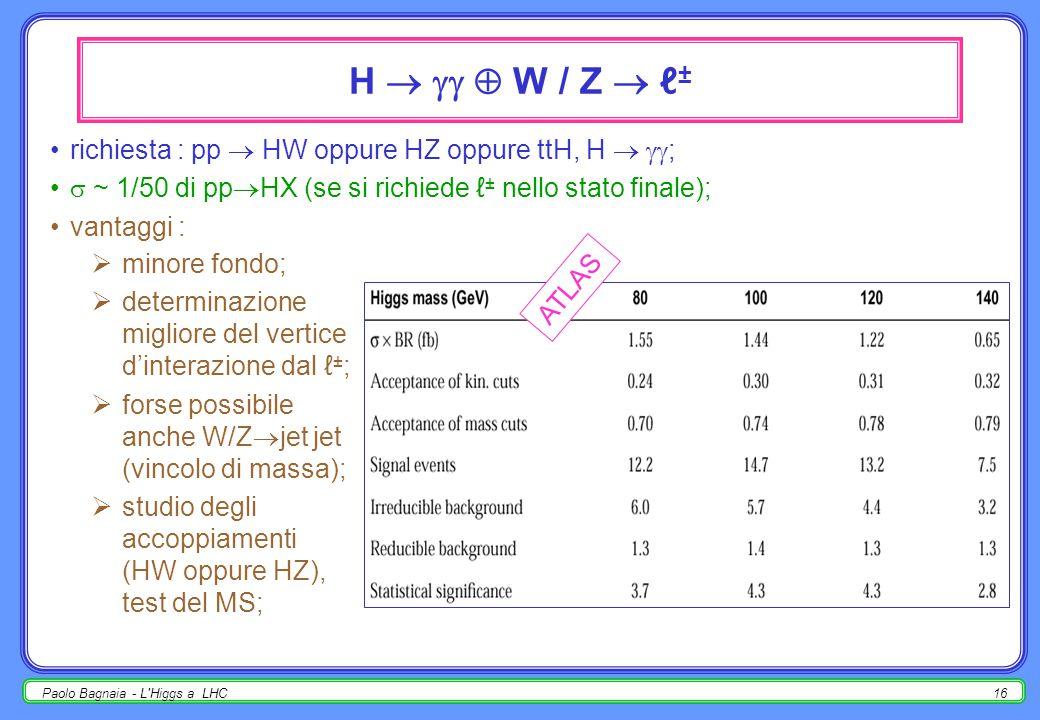 Paolo Bagnaia - L Higgs a LHC15 CMS : H , m H =130 GeV CMS, 100 fb -1