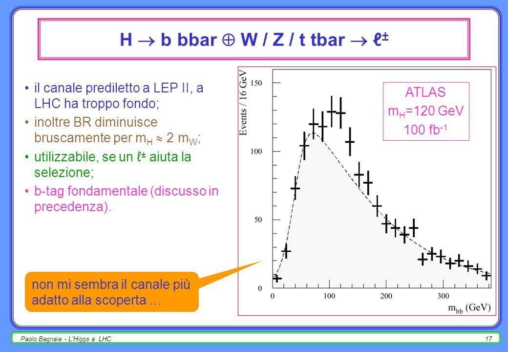Paolo Bagnaia - L Higgs a LHC16 H    W / Z  ℓ ± richiesta : pp  HW oppure HZ oppure ttH, H   ;  ~ 1/50 di pp  HX (se si richiede ℓ ± nello stato finale); vantaggi :  minore fondo;  determinazione migliore del vertice d'interazione dal ℓ ± ;  forse possibile anche W/Z  jet jet (vincolo di massa);  studio degli accoppiamenti (HW oppure HZ), test del MS; ATLAS