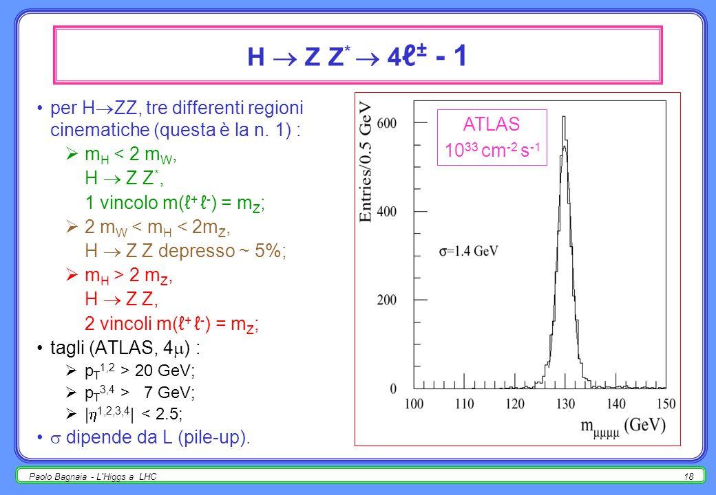 Paolo Bagnaia - L Higgs a LHC17 H  b bbar  W / Z / t tbar  ℓ ± il canale prediletto a LEP II, a LHC ha troppo fondo; inoltre BR diminuisce bruscamente per m H  2 m W ; utilizzabile, se un ℓ ± aiuta la selezione; b-tag fondamentale (discusso in precedenza).