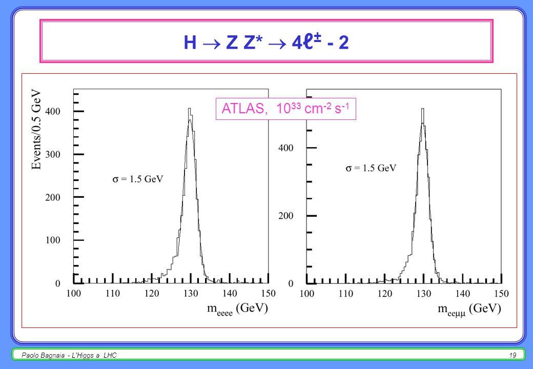 Paolo Bagnaia - L'Higgs a LHC18 H  Z Z *  4 ℓ ± - 1 per H  ZZ, tre differenti regioni cinematiche (questa è la n. 1) :  m H < 2 m W, H  Z Z *, 1